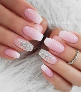 ροζ ασημι νυχια νυφικα