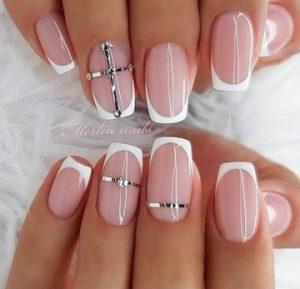 ροζ λευκο γαλλικο νυχι νυφικο