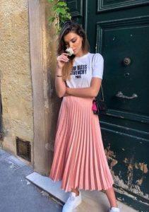 ροζ πλισέ φούστα T-shirt