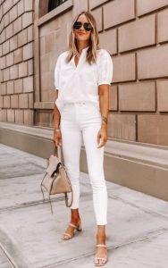 τζιν παντελόνι άσπρο πουκάμισο