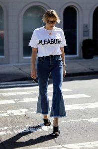τζιν ζιπ κιλότ άσπρο T-shirt