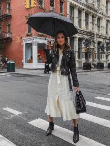 άσπρο φόρεμα μαύρο δερμάτινο maxi φόρεμα φθινόπωρο