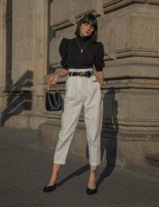 άσπρο παντελόνι μαύρη μπλούζα καλοκαιρινά ρούχα φθινόπωρο