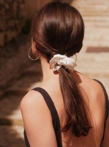 άσπρο scrunchy αλογοουρά καλοκαιρινά αξεσουάρ μαλλιών