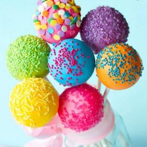 cake pops πολυχρωμα