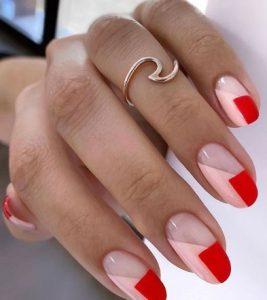 ροζ κόκκινα δίχρωμα νύχια