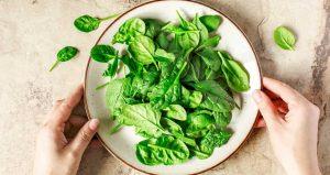 φύλλα σπανάκι πιάτο