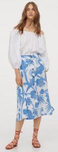 γαλάζια φθινοπωρινή φούστα με κουμπιά
