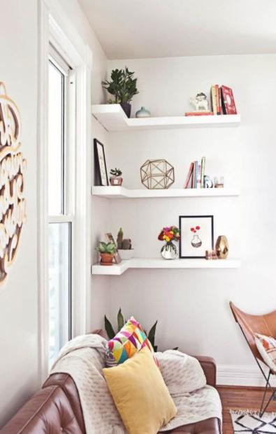 γωνιακά ράφια τοίχος γωνίες σαλόνι