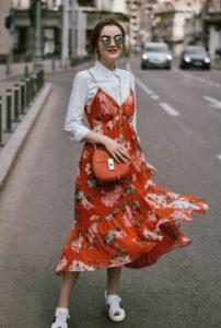 κόκκινο φόρεμα πουκάμισο καλοκαιρινά ρούχα φθινόπωρο