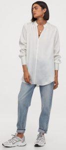 λευκή μακριά σατέν μπλούζα