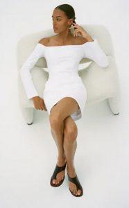 λευκο φορεμα εξω ωμοι
