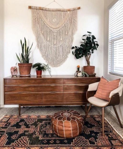μακραμέ διακοσμητικό ξύλινος μπουφές