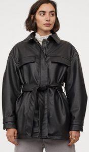μαύρο δερμάτινο παλτό με ζώνη