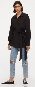 μαύρο γυναικείο πουκάμισο με δέσιμο στη μέση
