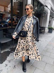 μαύρο δερμάτινο μπουφάν λεοπάρ φόρεμα maxi φόρεμα φθινόπωρο