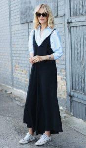 μάξι μαύρο φόρεμα σταράκια