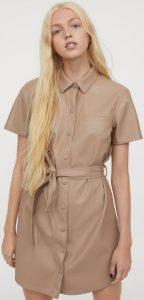 μπεζ δερμάτινο φόρεμα με κουμπιά και ζώνη