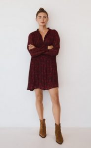 μπορντο φορεμα κοντο mango 2021