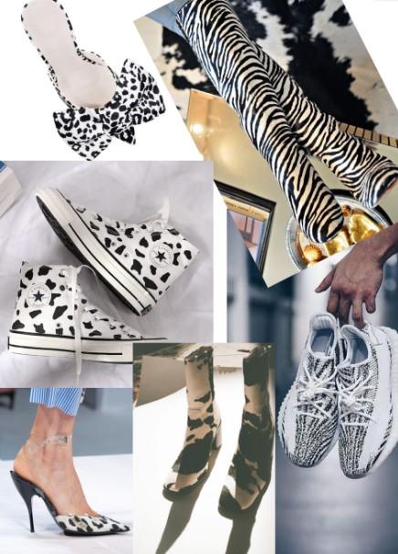 παπούτσια με ασπρόμαυρα animal prints