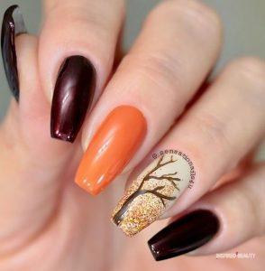 πορτοκαλί φθινοπωρινά νύχια