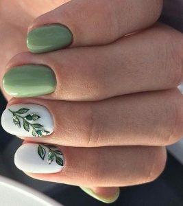 πράσινα λευκά νύχια