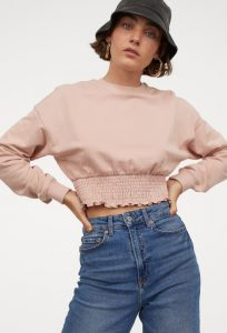 ροζ κοντή φούτερ μπλούζα