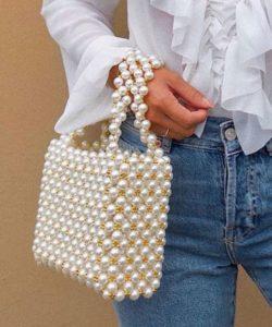 τσάντα χειρός με πέρλες