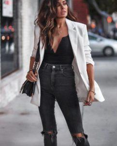 άσπρο σακάκι τζιν παντελόνι