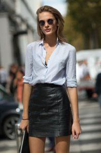 δερμάτινη φούστα πουκάμισο