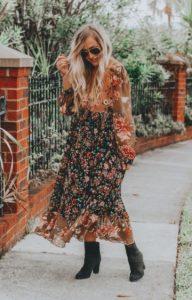 φλοράλ boho φόρεμα μακρύ