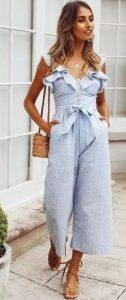 γαλάζια ολόσωμη φόρμα ζιπ κιλότ