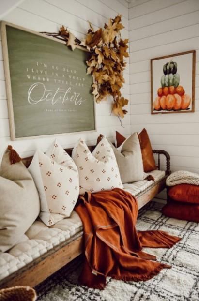 καναπές πορτοκαλί ριχτάρι φύλλα δέντρου