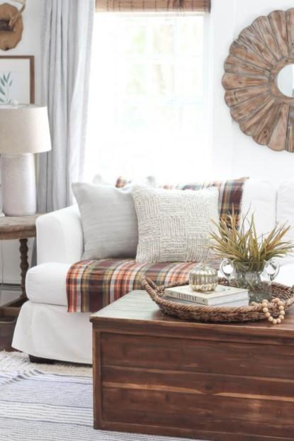 καρό ριχτάρι καναπές σαλόνι