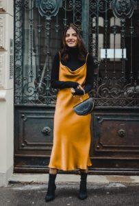 κίτρινο φόρεμα μαύρο ζιβάγκο φθινοπωρινά φορέματα
