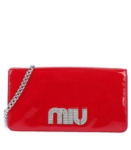 κόκκινη λουστρίνι τσάντα miu miu