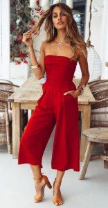 κόκκινη στράπλες ολόσωμη φόρμα