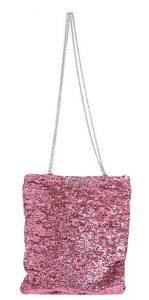 λαμπερή ροζ τσάντα ώμου