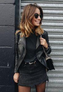 μαύρη τζιν φούστα μαύρο δερμάτινο