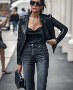 μαύρο δερμάτινο κοντό jacket