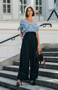 μαύρο παντελόνι καμπάνα πουκάμισο