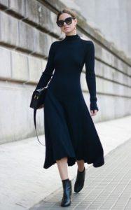μαύρο rib φόρεμα μποτάκια