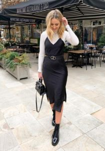 μαύρο slip dress άσπρο ζιβάγκο φθινοπωρινά φορέματα