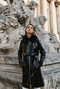 μαύρο βινύλ μπουφάν γούνα