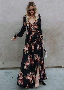 μάξι μαύρο φλοράλ φόρεμα