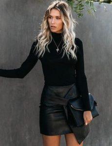 μίνι δερμάτινη φούστα μαύρη μπλούζα φούστες δεν πρέπει λείπουν