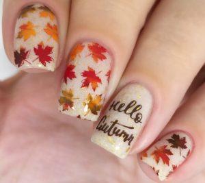 νύχια με φύλλα