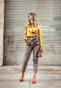 paper bag παντελόνι κίτρινο πουκάμισο