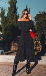 πλισέ μαύρη φούστα μαύρη φούστα