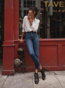 ψηλόμεσο παντελόνι άσπρο πουκάμισο